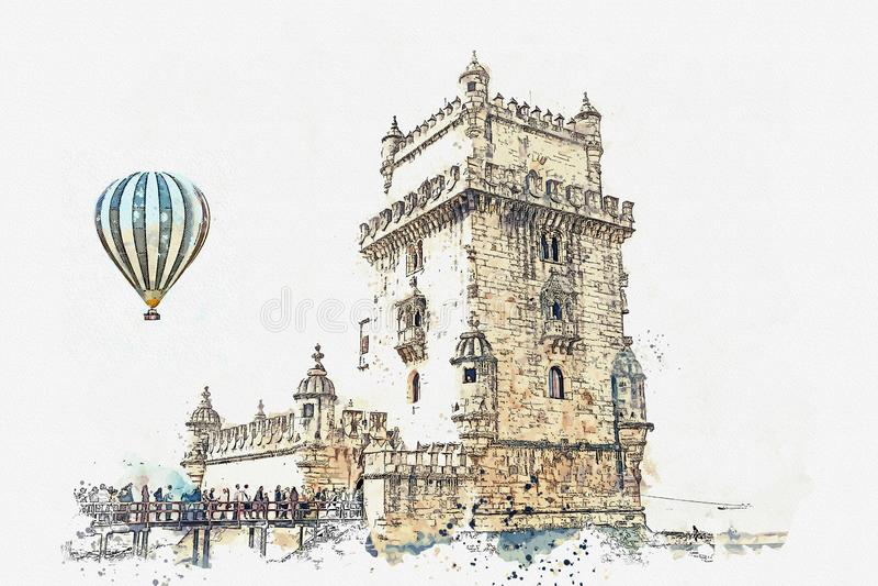 ilustracja Torre de Belem lub Belem wierza jest jeden przyciągania Lisbon ilustracji