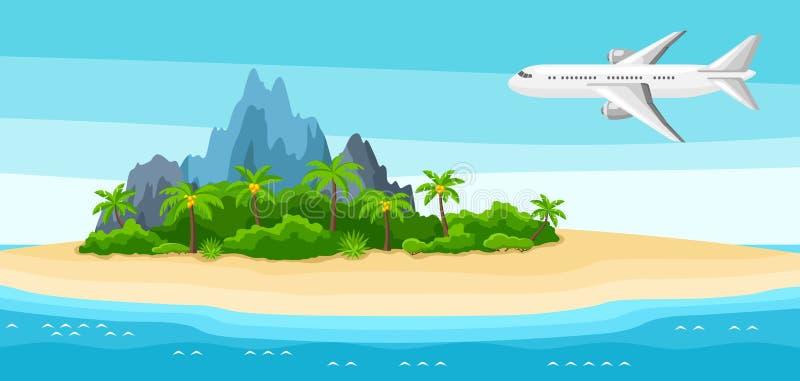 Ilustracja tropikalna wyspa w oceanie Krajobraz z samolotem, drzewkami palmowymi i skałami, tło portfolio więcej mój podróż ilustracja wektor