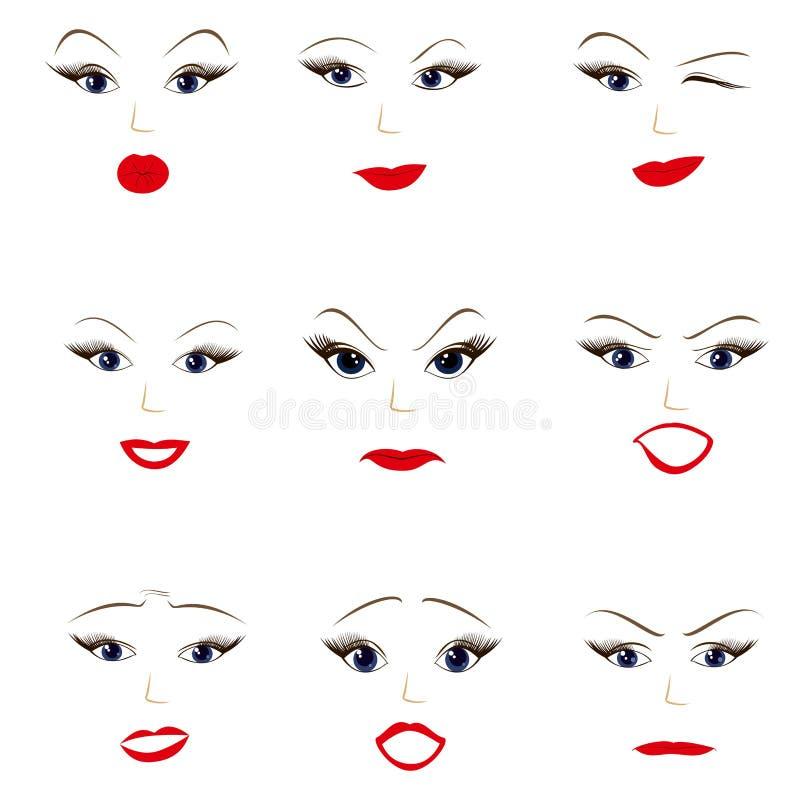 Ilustracja twarzy kobiet emocja twarzowi różni wyrażenia ilustracja wektor
