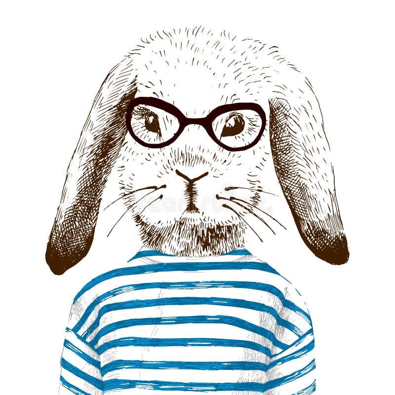 Ilustracja ubierający up królik ilustracja wektor