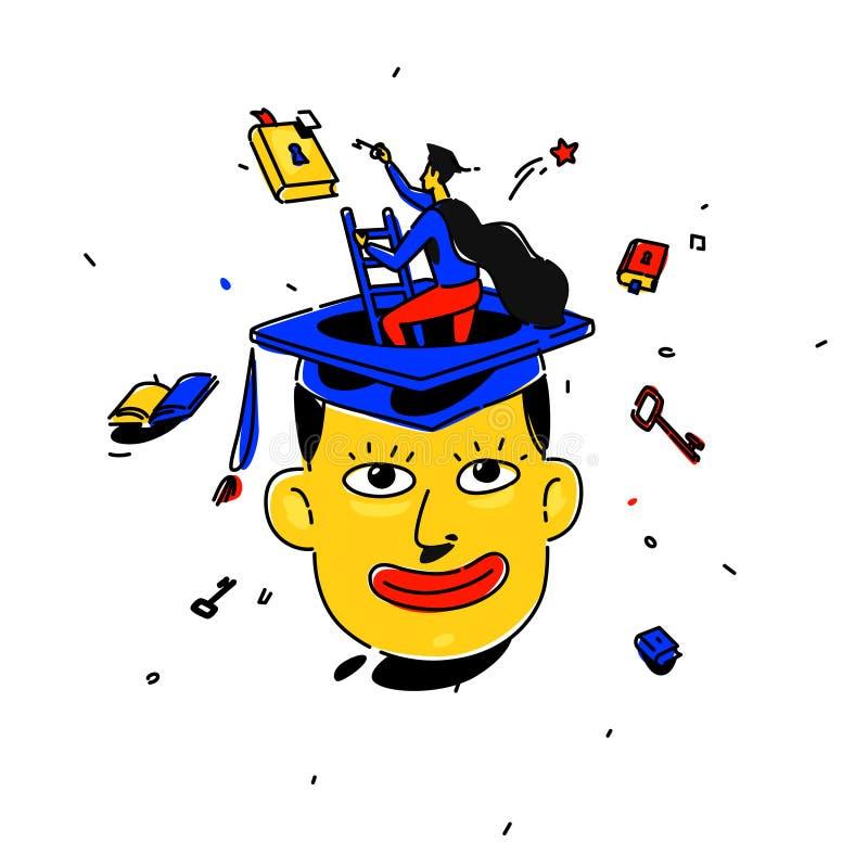 Ilustracja uczeń w kwadratowej nakrętce wektor Mężczyzna na schodkach wzrasta niebo dla sen metafora Książka z kluczem ilustracja wektor