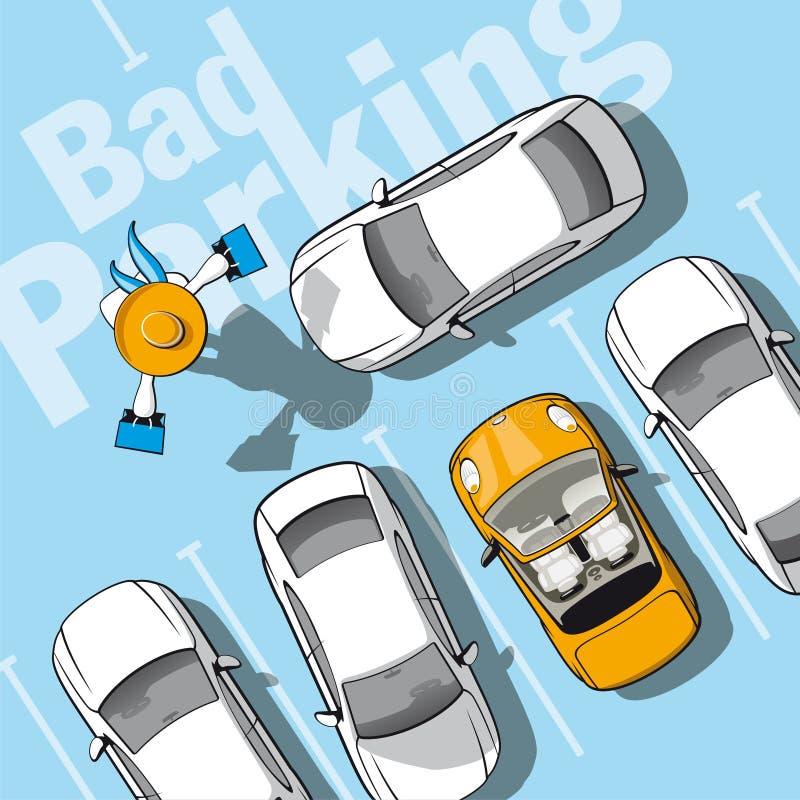 Zły parking ilustracji