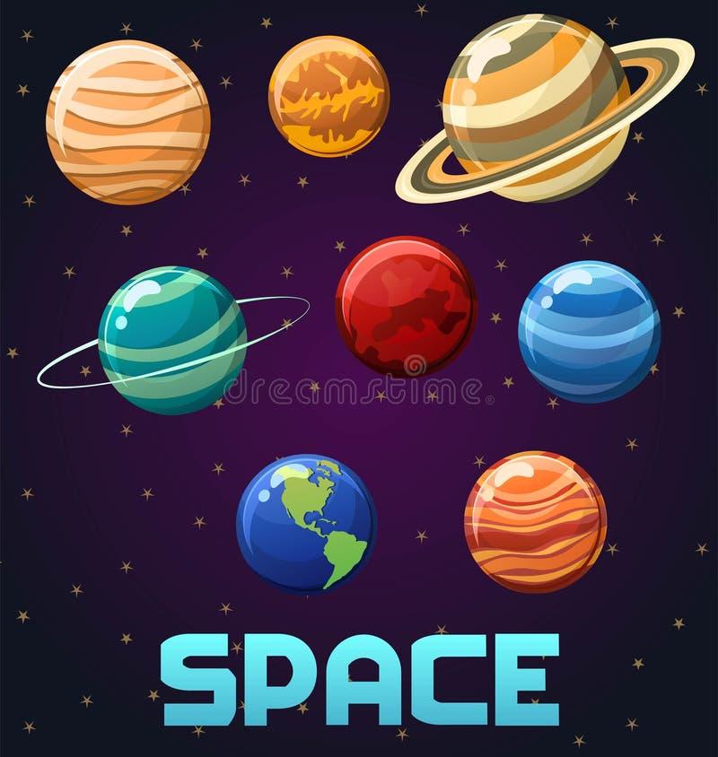 Ilustracja układ słoneczny z planetami i tekstem odizolowywającymi na astronautycznym tle w nowożytnym, modnym kreskówka stylu, obraz royalty free