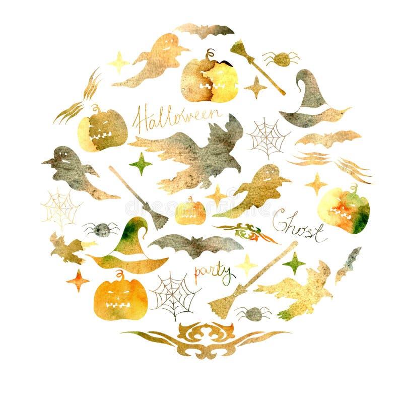 Ilustracja ustawiająca dla wakacyjnego Halloween akwarela Bania, duch, kapelusz, miotła, nietoperz, pająk sieci a i inne Hallowee royalty ilustracja