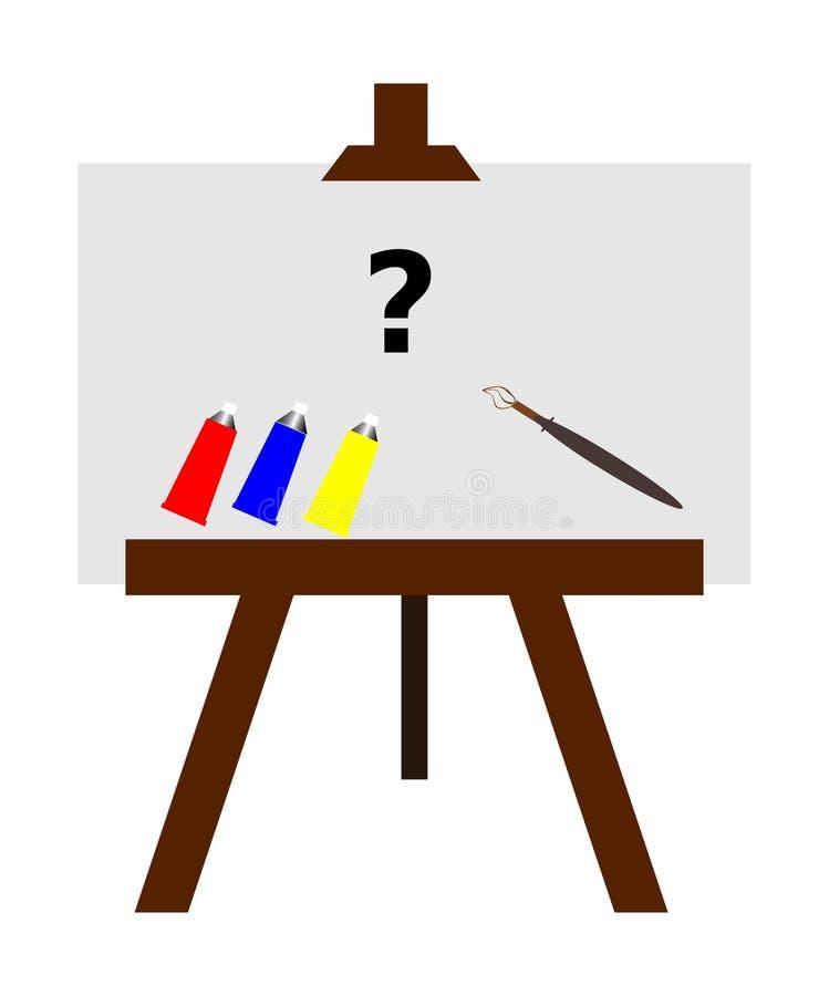 Ilustracja uwypukla malarza prost? sztalug? z brushe, kolorami i kanw?, ilustracja wektor
