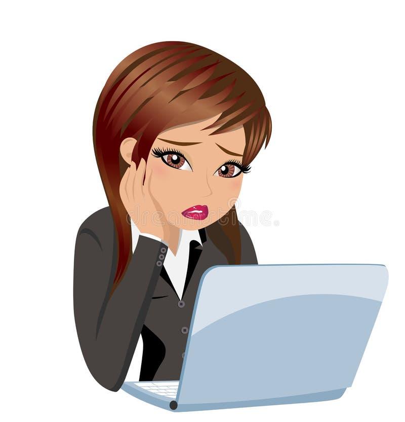 Zmartwiona Biznesowa kobieta przy pracą ilustracja wektor