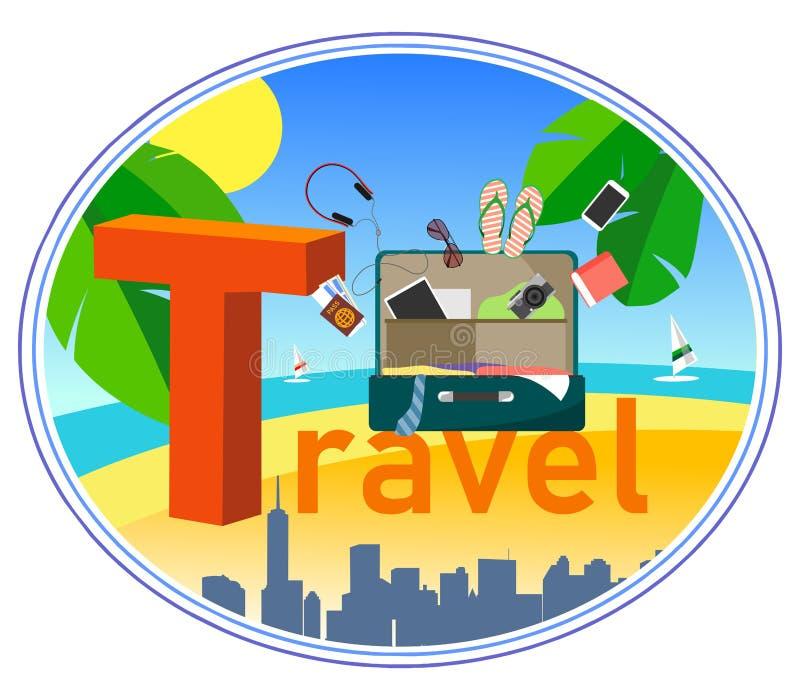 Ilustracja w mieszkanie stylu z tekstem i walizką dla podróży, miasto, morze, kurort, palma opuszcza ilustracja wektor