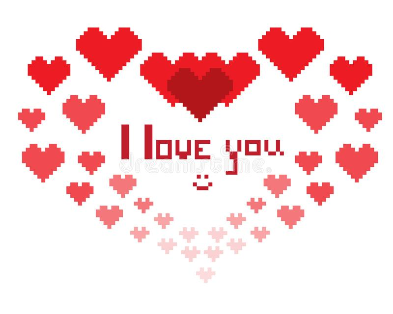 Ilustracja w postaci pixelated serca z inskrypcją kocham ciebie i smiley royalty ilustracja