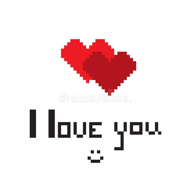 Ilustracja w postaci pixelated serca z inskrypcją kocham ciebie i smiley ilustracji