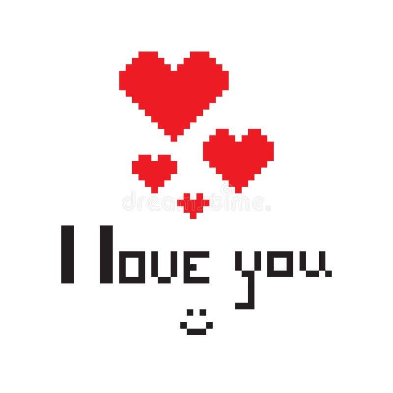 Ilustracja w postaci pixelated serca z inskrypcją kocham ciebie i smiley ilustracja wektor