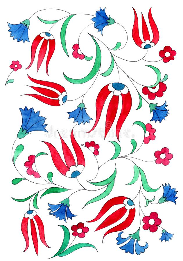 Ilustracja w stylu tradycyjnych Osmańskich wzorów Akwarela goździk na białym tle i tulipan ilustracji