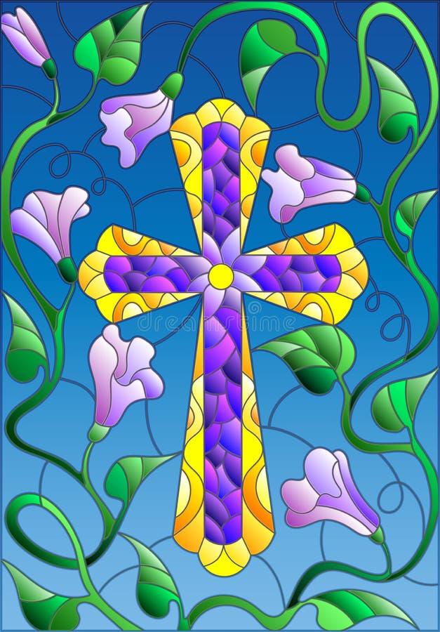 Ilustracja w stylu witrażu z krzyżem w kwiatach i niebie royalty ilustracja