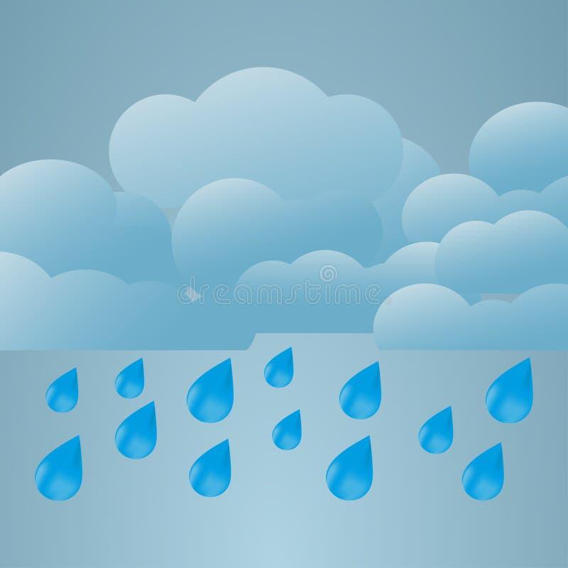 Ilustracja warunek pogodowy większy deszcz ilustracja wektor