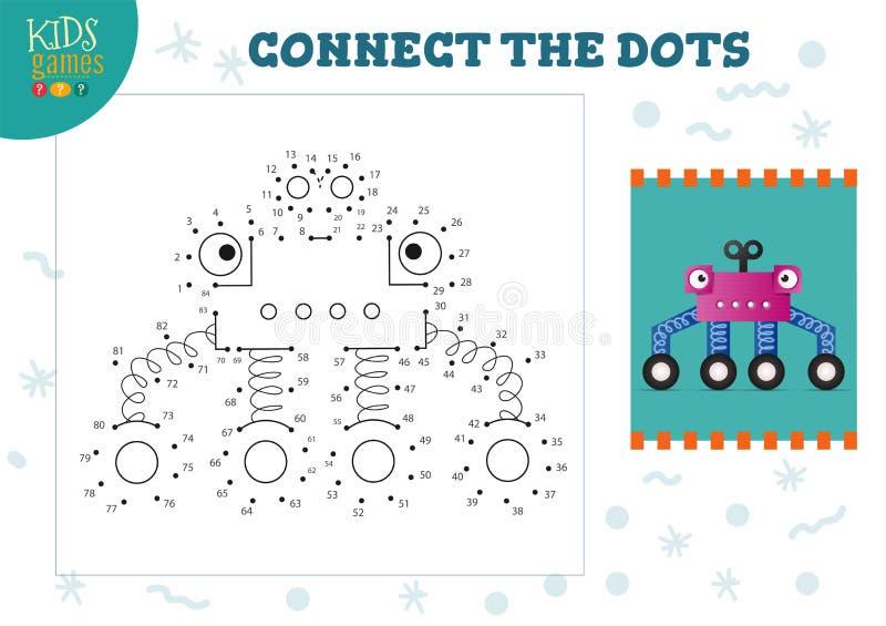 Ilustracja wektora gier typu 'kropka-kropka' Aktywność rysowania dzieci w przedszkolu ilustracja wektor