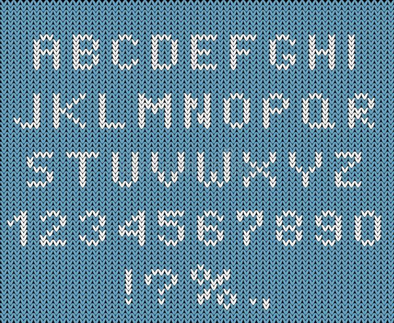 Ilustracja wektora płaskiego czcionki bożonarodzeniowej Knitwear: styl alfabet i zestaw liczb Sezon zimowy ABC, wielkie litery ilustracji