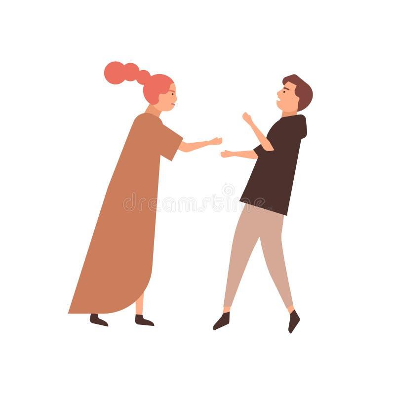 Ilustracja wektora typu Young Para Konflikt rodzinny, kłótnia, mąż i żona Relacja royalty ilustracja