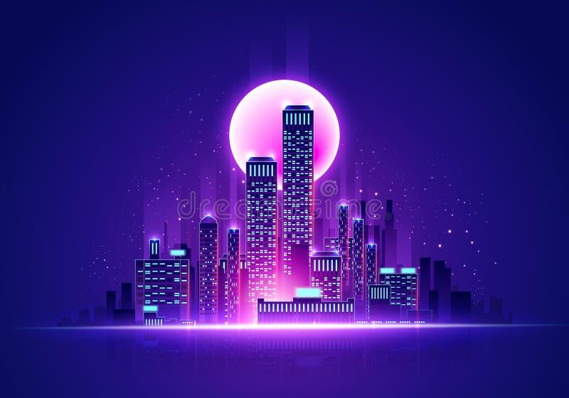 Ilustracja wektorowa Futurystyczny neonowy blask Skyline Cyber Cityscape w kolorach retro ilustracji