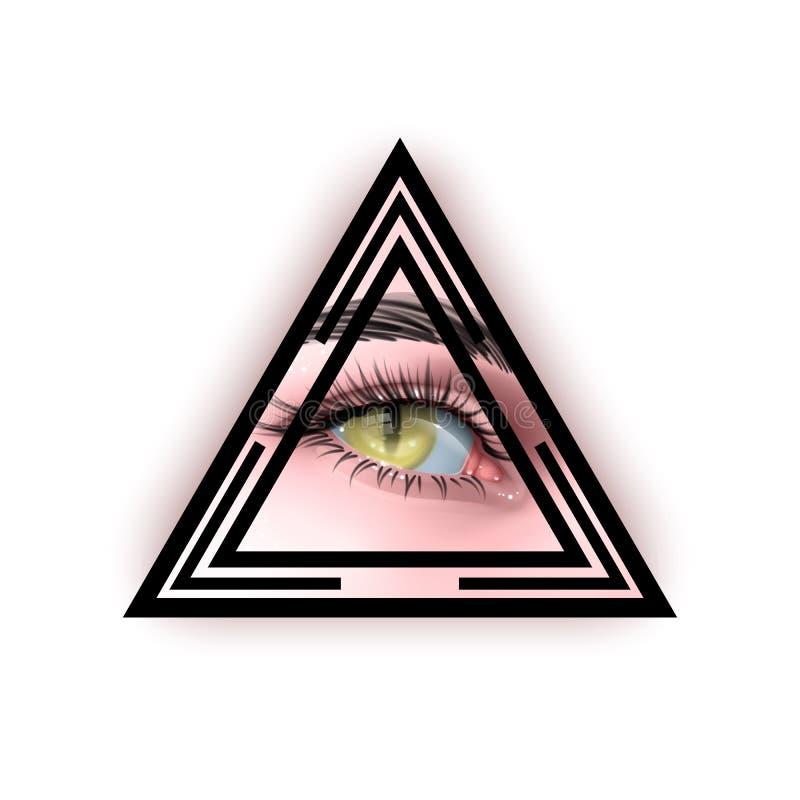 Ilustracja wektorowa Reptilian Human eyes z symbolem oka Teoria spiskowa paranormalna ilustracji