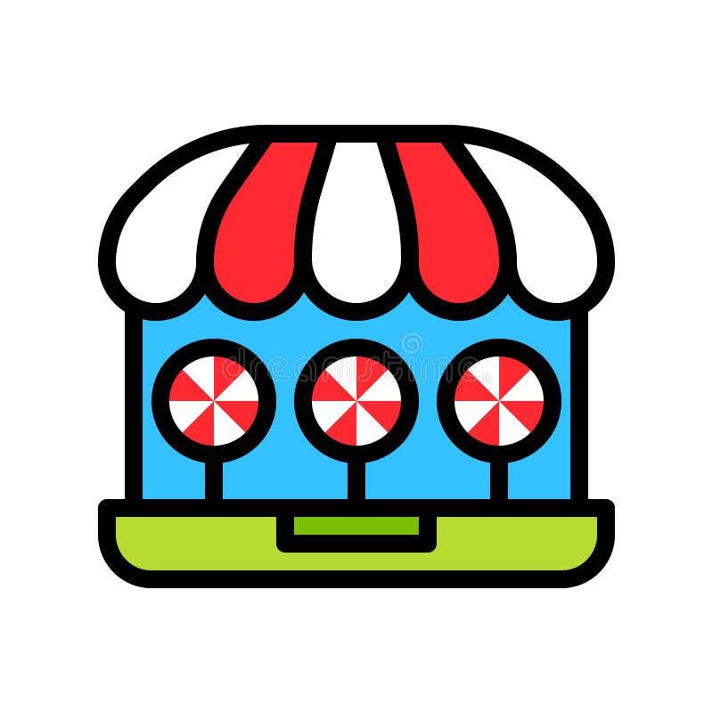 Ilustracja wektorowa w sklepie internetowym, kontur z ikoną stylu wypełnionego ilustracji