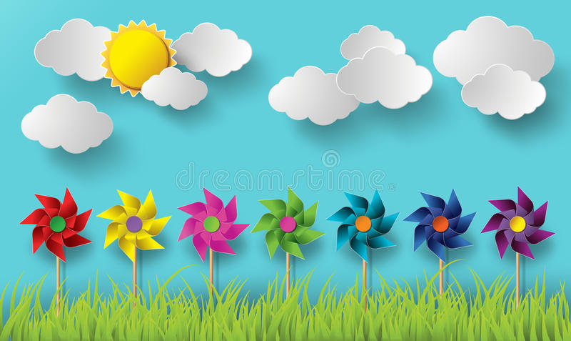 Ilustracja wiatrowi młyny dmucha w chmurnych dniach ilustracja wektor