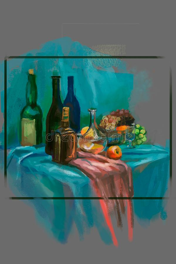 Ilustracja wino butelka na stole royalty ilustracja