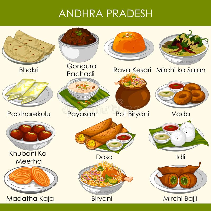 Ilustracja wyśmienicie tradycyjny jedzenie Andhra Pradesh India royalty ilustracja