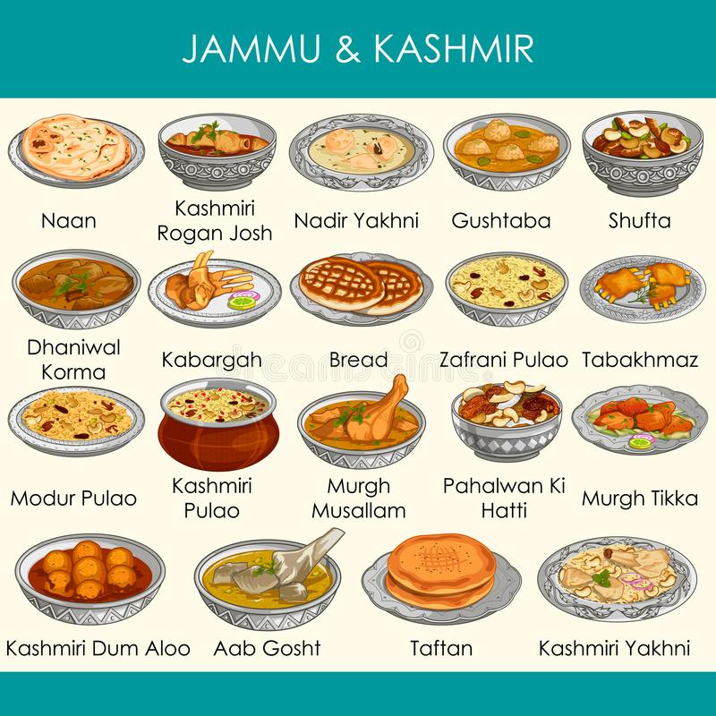 Ilustracja wyśmienicie tradycyjny jedzenie Jammu India i Kaszmir ilustracja wektor