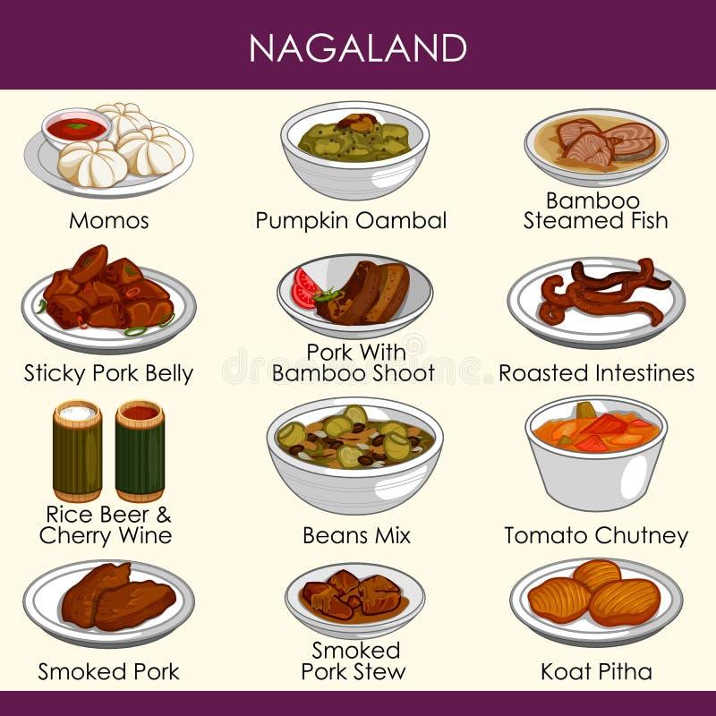 Ilustracja wyśmienicie tradycyjny jedzenie Nagaland India royalty ilustracja