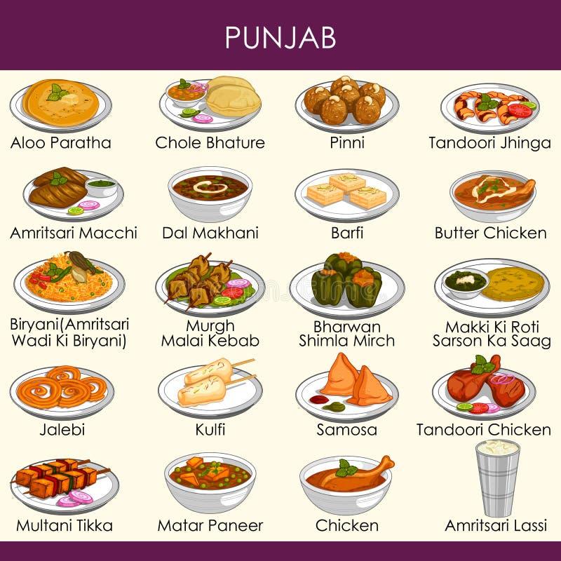 Ilustracja wyśmienicie tradycyjny jedzenie Pundżab India royalty ilustracja