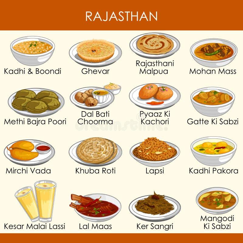 Ilustracja wyśmienicie tradycyjny jedzenie Rajasthan India ilustracji
