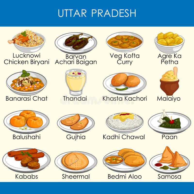 Ilustracja wyśmienicie tradycyjny jedzenie Uttar Pradesh India ilustracja wektor