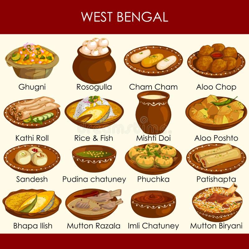Ilustracja wyśmienicie tradycyjny jedzenie Zachodni Bengalia India royalty ilustracja