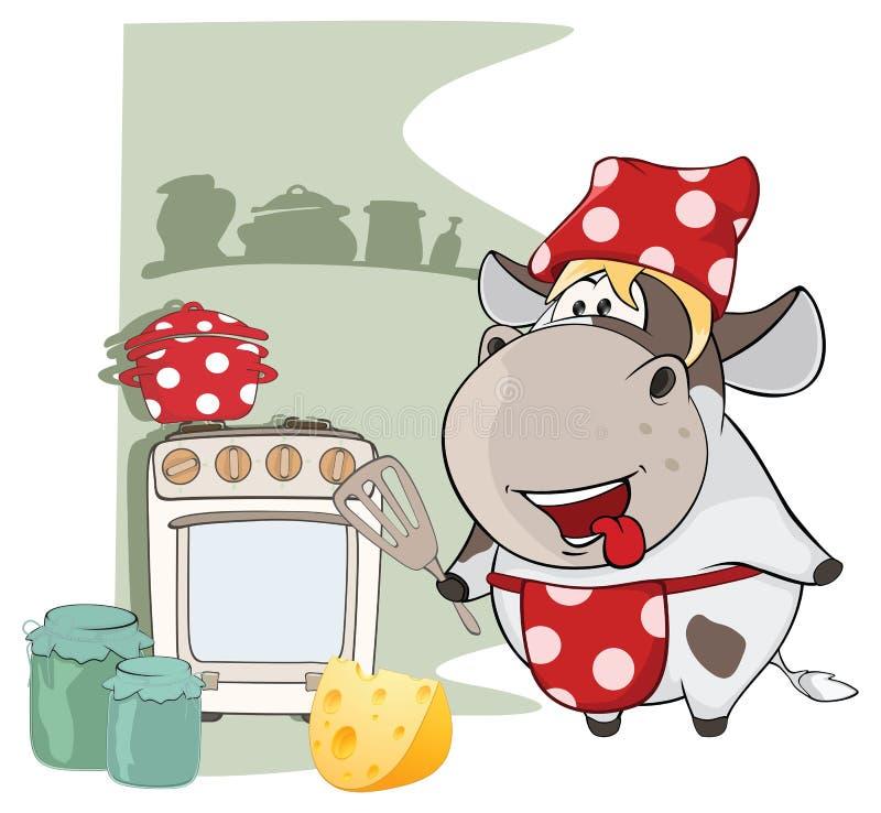 Ilustracja Wyśmienita szef kuchni krowa tła postać z kreskówki zuchwałych ślicznych psów szczęśliwa głowa odizolowywał uśmiechu b royalty ilustracja