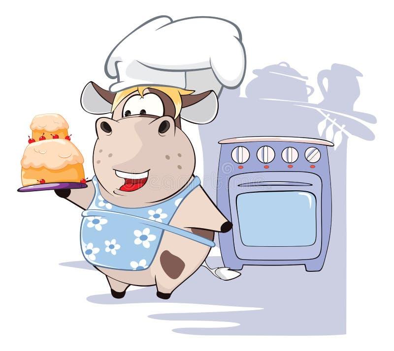 Ilustracja Wyśmienita szef kuchni krowa tła postać z kreskówki zuchwałych ślicznych psów szczęśliwa głowa odizolowywał uśmiechu b ilustracja wektor