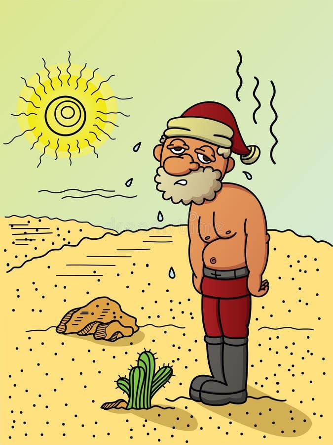 Ilustracja wyczerpująca bieda Święty Mikołaj i pocenie ponieważ ilustracji