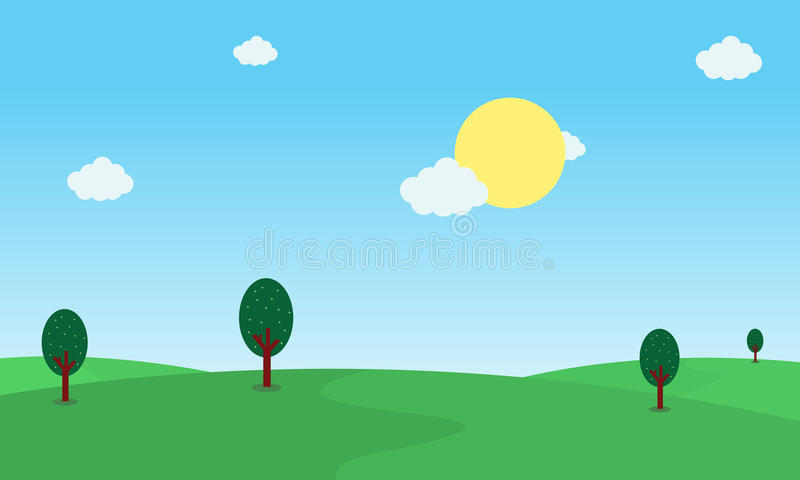 Ilustracja wzgórza i słońca krajobraz przy rankiem ilustracji