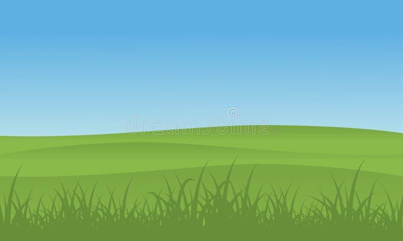 Ilustracja wzgórze z trawa krajobrazem ilustracji