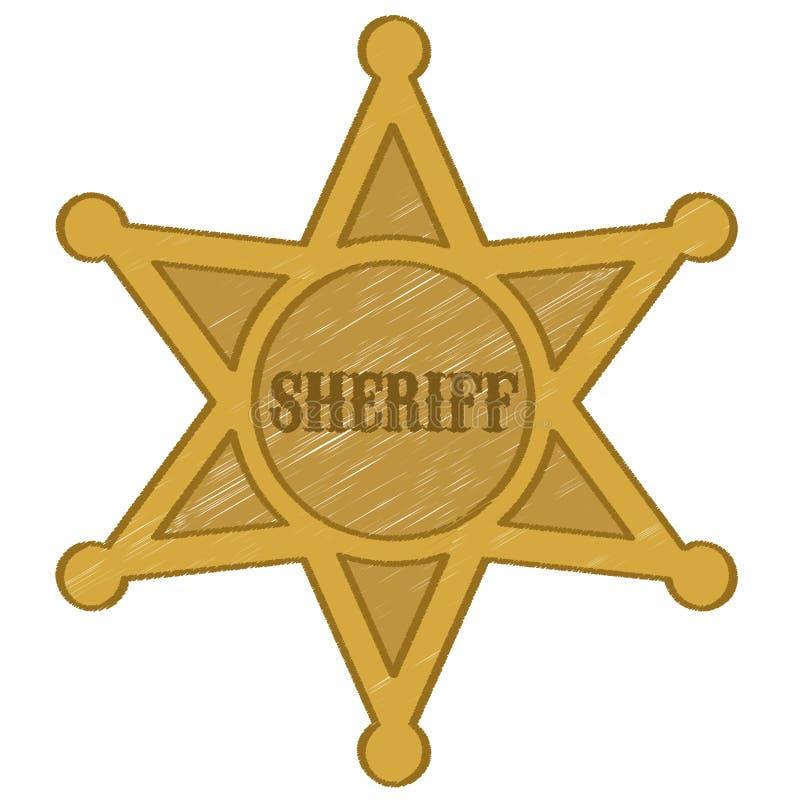 Szeryf gwiazdowa odznaka ilustracji