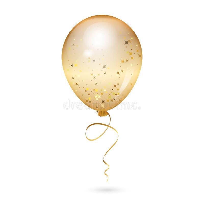 Ilustracja złocisty błyszczący balon zdjęcia royalty free