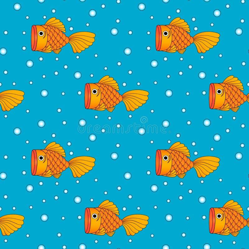 Ilustracja złota ryba, bezszwowy tło, wzór zdjęcie stock