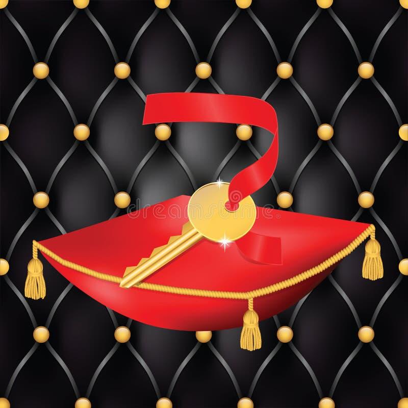 Ilustracja złoty klucz na czerwonej poduszce z rzemiennym drzwiowym plecy ilustracji