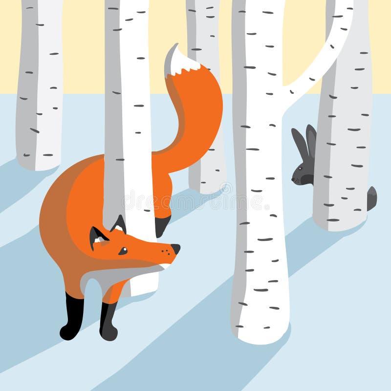 Ilustracja z śliczną lisa i królika ilustracją ilustracji