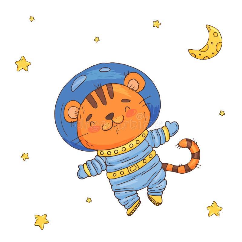Ilustracja z ślicznej kreskówki tygrysim astronautą w przestrzeni ilustracji