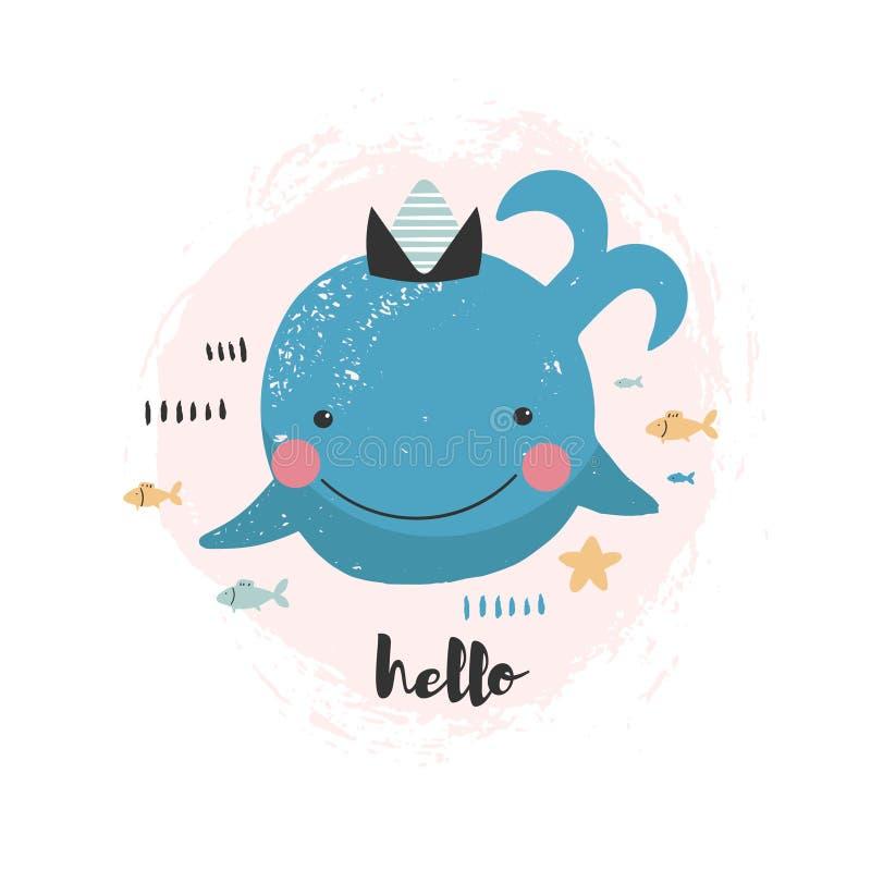 Ilustracja z ślicznym uśmiechniętym wielorybem royalty ilustracja