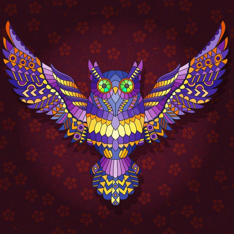 Ilustracja z Abstrakcjonistycznym wizerunkiem purpurowy sowy latanie na zmroku - czerwony kwiecisty tło royalty ilustracja