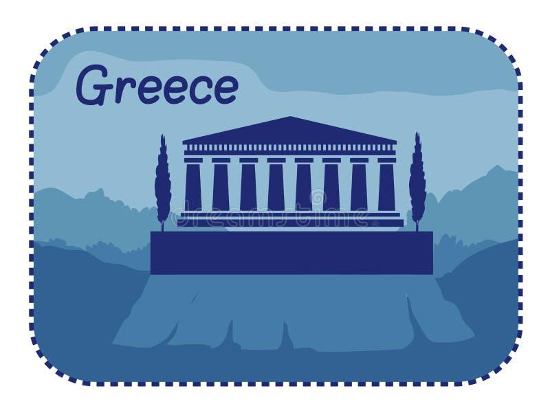 Ilustracja z akropolem Ateny w Grecja ilustracja wektor