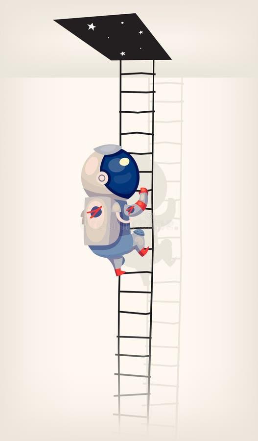 Ilustracja z astronautą dostaje w kosmosie drabiną royalty ilustracja