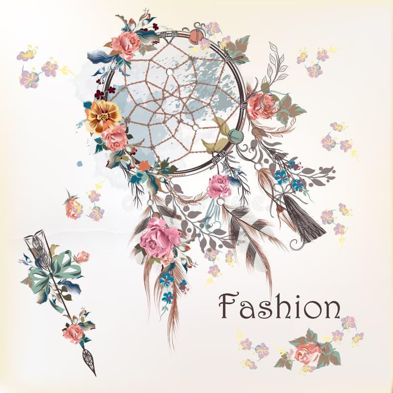 Ilustracja z dreamcatcher i kwiatami Ręka rysujący projekt ilustracji