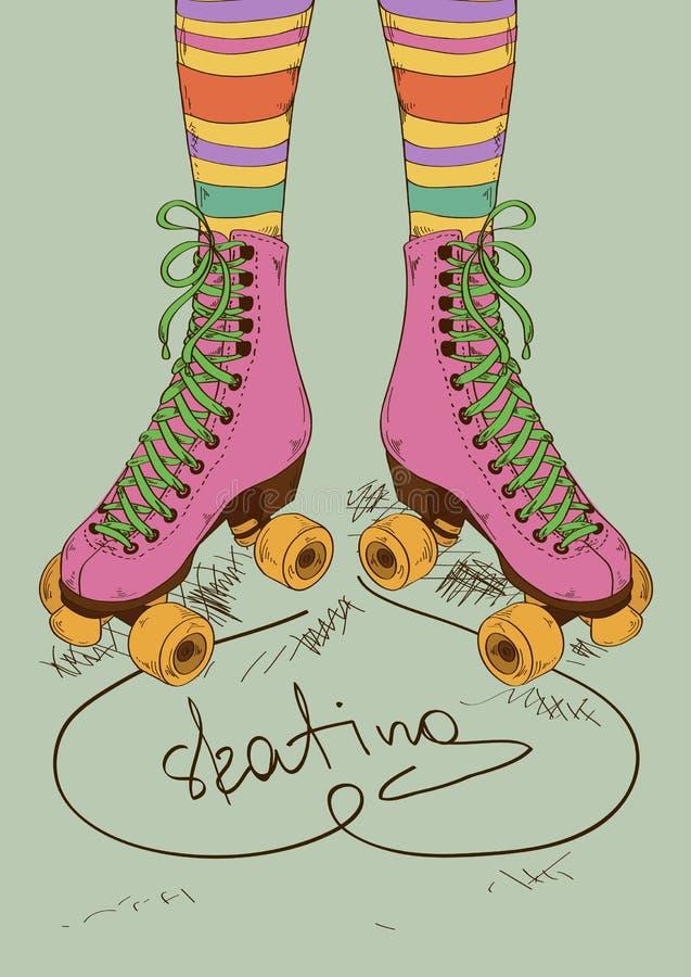 Ilustracja z dziewczyn nogami i retro rolkowym skat ilustracji