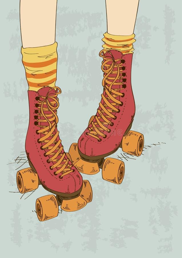 Ilustracja z dziewczyn retro rolkowymi łyżwami i nogami royalty ilustracja